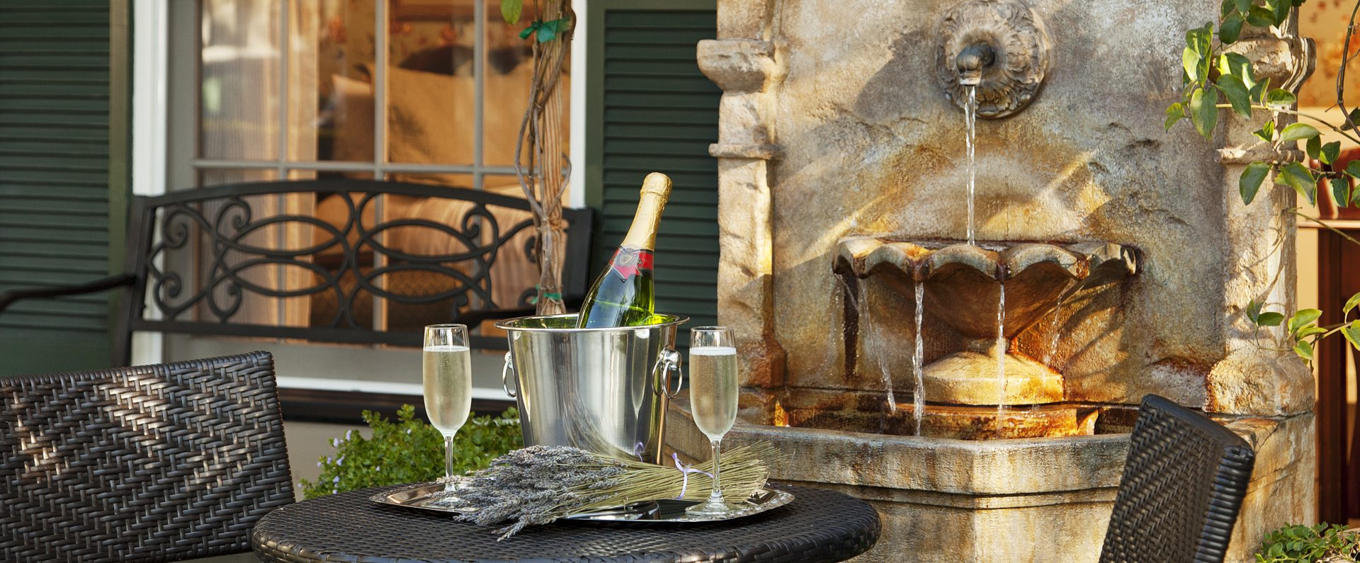 Champagne on patio at Lavender Inn by the Sea