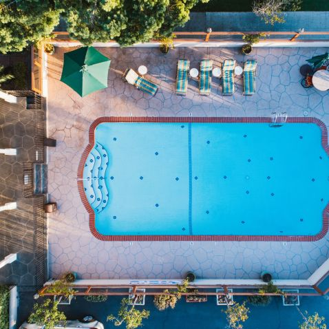aerial view of the on-site pool