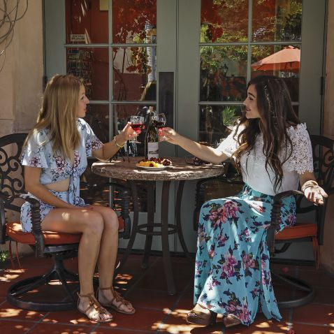 two young women toasting wine glasses on outside patio