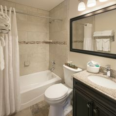 bathroom image with light color tile and decor, tub/shower combination with deluxe bath amenities.